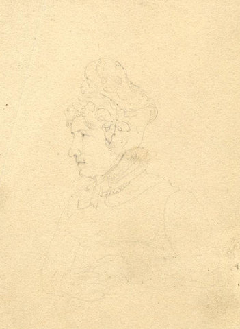 Woman in Bonnet Portrait - Original early 19th-century graphite drawing