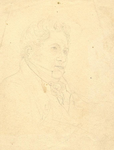 Gentleman in Cravat Portrait Study -Original early 19th-century graphite drawing