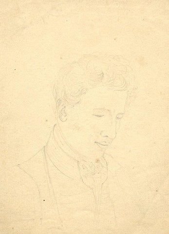 Gentleman in Cravat Portrait - Original early 19th-century graphite drawing