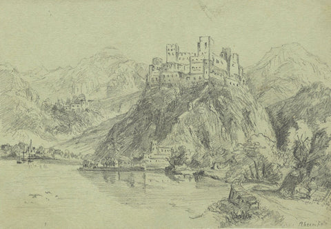 Rheinfels Castle, Rhine, Germany - Original early 19th-century graphite drawing