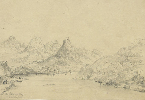 Drachenfels in the Siebengebirge, Germany - early 19th-century graphite drawing