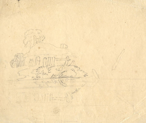 Landscape Sketch, Study in Reflection - Early 19th-century graphite drawing