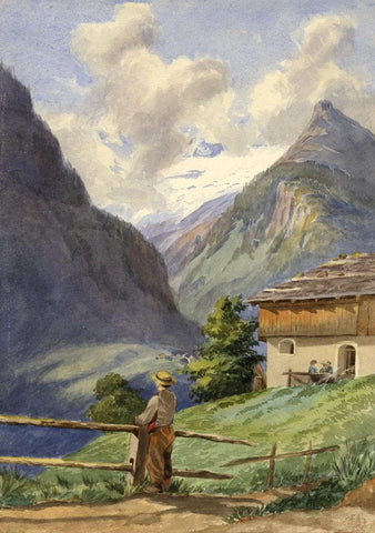 Figure in Sublime Alpine Landscape - Late 19th-century watercolour painting