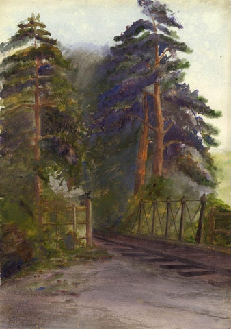 Railway Track through the Trees -Original late 19th-century watercolour painting