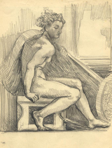 Classical Figure on Stone Pedestal -Original early 20th-century graphite drawing