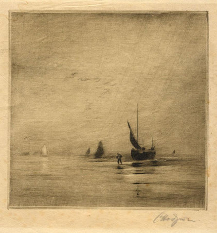 Cedric Hodgson, The Fisherman - Original early 20th-century etching print