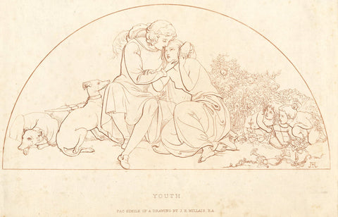 After J.E. Millais RA, Youth - Original 1881 etching print