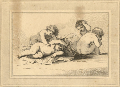 Francesco Bartolozzi RA after Cipriani, Four Putti - Original 1787 etching print