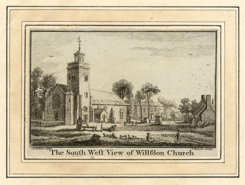 J. Roberts after J. Chatelain, South West View Willsdon Church -c.1750 engraving