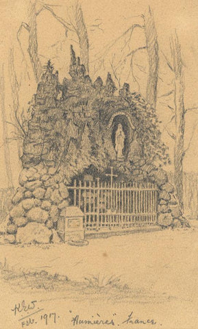 Kenneth E. Wootton, Virgin Mary Shrine, Humières, France - 1917 graphite drawing