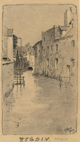 Kenneth E. Wootton, River Canche, Hesdin, France - 1917 pen & ink drawing