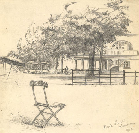 Kenneth E. Wootton, Hyde Park, London - 1913 graphite drawing