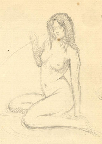 Kenneth E. Wootton, Kneeling Female Nude Life Drawing - 1910s graphite drawing