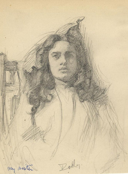 Kenneth E. Wootton, Portrait of Dorothy, Artist's Sister -1910s graphite drawing