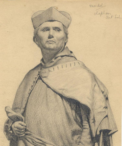 Kenneth E. Wootton, Cardinal Portrait Clapham Art School -1910s graphite drawing