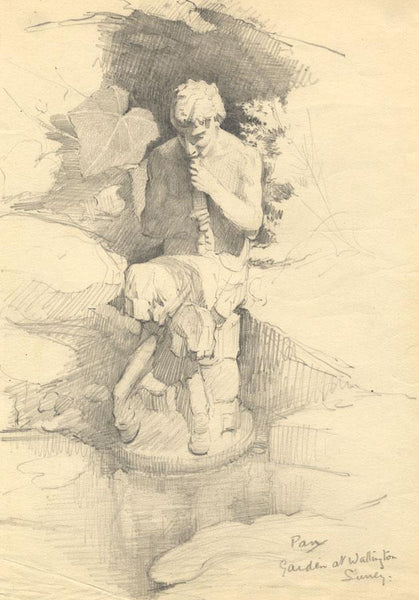 Kenneth E. Wootton, Pan Statue Wallington Surrey -c.1910s-1940s graphite drawing