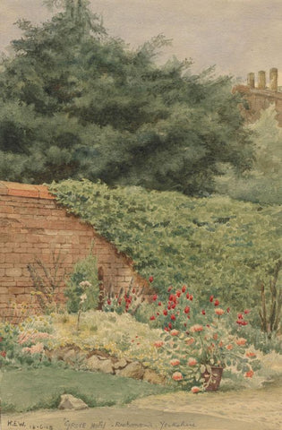 Kenneth E. Wootton, Grove Hotel Garden Richmond Yorks -1918 watercolour painting
