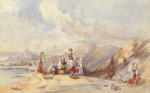 Fisherfolk, St Michael's Mount, Cornwall - 19th-century watercolour painting