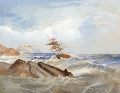 L.W. Millett, Shipwreck off Cornish Coast - Original 1912 gouache painting