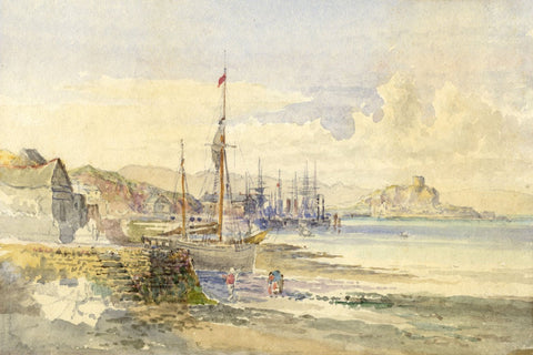 St Michael's Mount from Penzance, Cornwall - 19th-century watercolour painting