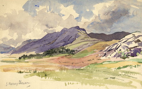 John Murray Thomson RSA Highland View with Heather -Mid-20th-century watercolour