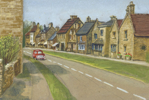 Victor Papworth, Broadway Village, Cotswolds - Original 1970 gouache painting