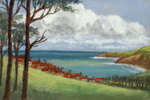 Victor Papworth, Robin Hood Bay Towards Ravenscar - 1970 gouache painting
