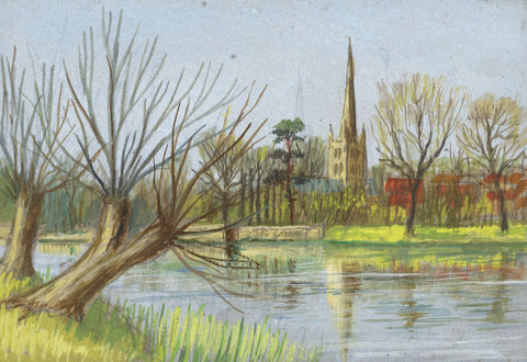 Victor Papworth, Holy Trinity Church, Stratford - Original 1970 gouache painting