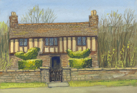 Victor Papworth, Timber-framed House & Garden, Cotswolds - 1970 gouache painting