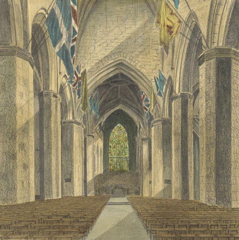 Allan Furniss, St. Giles Cathedral, Edinburgh - 1940s coloured graphite drawing
