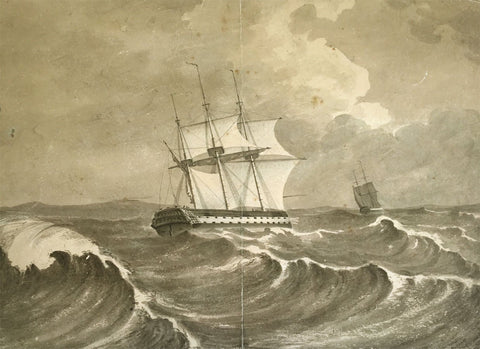 Captain Thomas Hastings, HMS Naval Frigates at Sea - 1805 watercolour painting