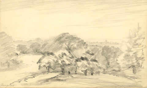 W.J. Lawrence, St Paul's Cathedral from Hampstead Heath - 1930s graphite drawing