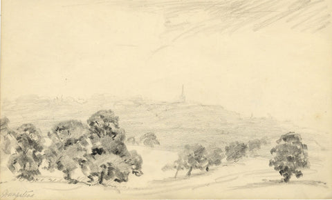 W.J. Lawrence, Hampstead Heath with St Jude's Church - 1939 graphite drawing