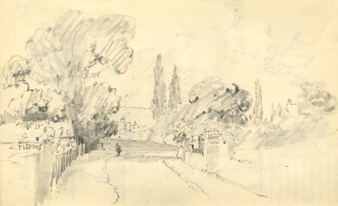 W.J. Lawrence, Street with Figure, Gravesend, Kent - 1938 graphite drawing