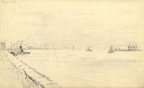 W.J. Lawrence, River Thames, Port of London - Original 1938 graphite drawing