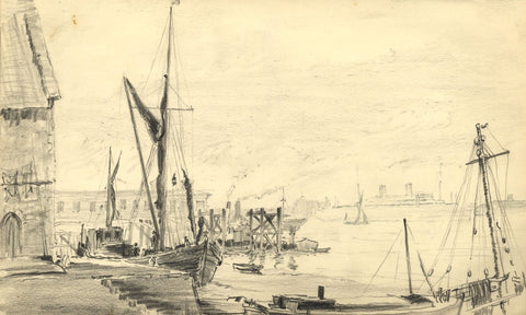 W.J. Lawrence, Boats in Harbour, Thames, Gravesend - 1938 graphite drawing