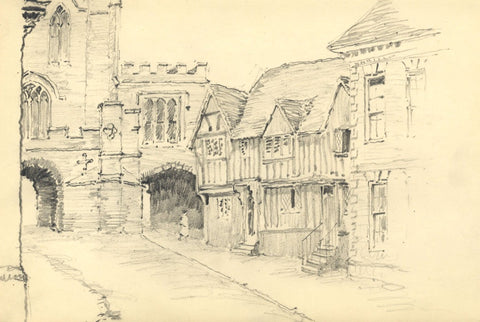 W.J. Lawrence, Westgate, Warwick - Original 1946 graphite drawing