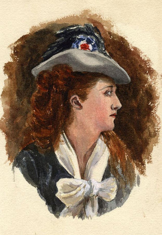Pickford Robert Waller, Woman with Tricolor Cockade - 1870s watercolour painting