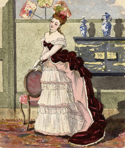 Pickford Robert Waller, Woman with Whistlerian Vases -1870s watercolour painting