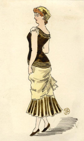 Pickford Robert Waller, Woman in Black & Yellow Dress-1890s watercolour painting