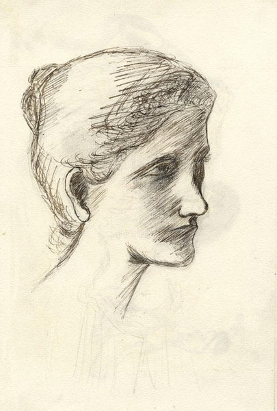 Pickford Robert Waller, Woman with Swept Back Hair - 1890s pen & ink drawing