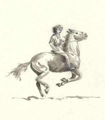 Claire Rome, Galloping Pony & Rider - mid-20th-century watercolour painting