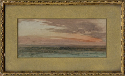 Arthur Severn RI, Landscape with Sunset Skies - c.1904 watercolour painting