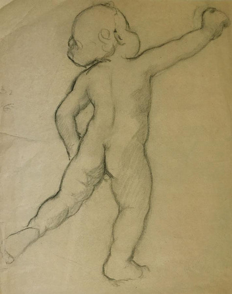 Ellen M. Murray Thomson, Putto for Art Nouveau Frieze 3 - 1910s charcoal drawing