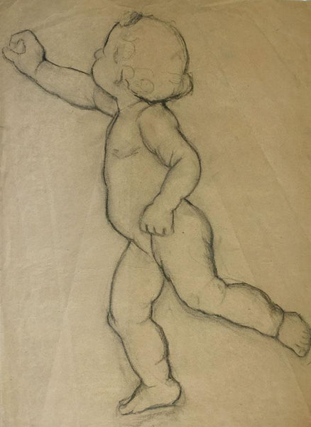 Ellen M. Murray Thomson, Putto for Art Nouveau Frieze 4 - 1910s charcoal drawing