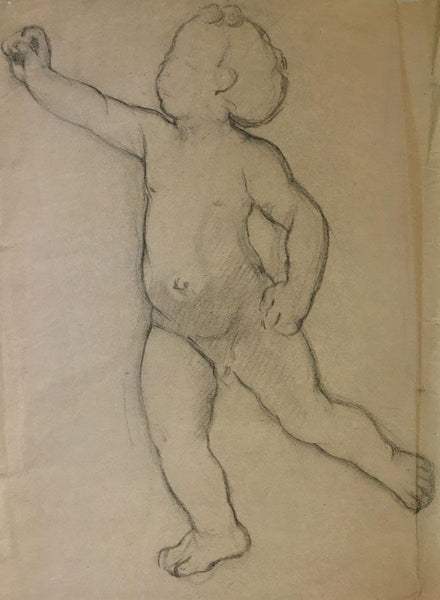 Ellen M. Murray Thomson, Putto for Art Nouveau Frieze 5 - 1910s charcoal drawing
