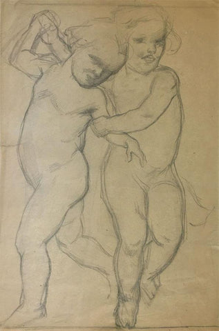 Ellen M. Murray Thomson, Putti for Art Nouveau Frieze 6 - 1910s graphite drawing