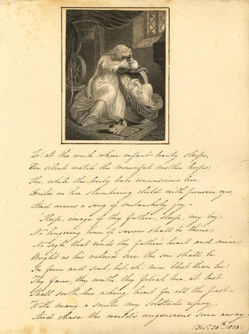 Engraving & Copperplate Poem, Thy Mother's Watchfulness by Thomas Campbell -1833