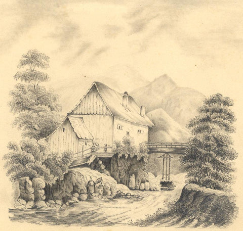 Old Water Mill - Original 1835 graphite drawing