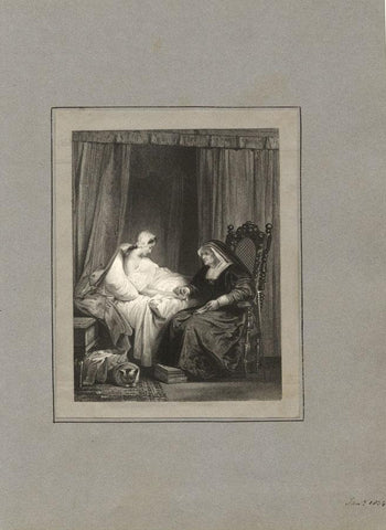 The Penitent Woman with Nun at Bedside - Original 1834 engraving print